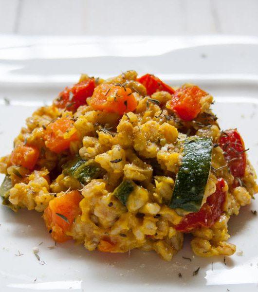 Dinkel-Risotto mit Gemüse und roten Linsen - The Vegetarian Diaries