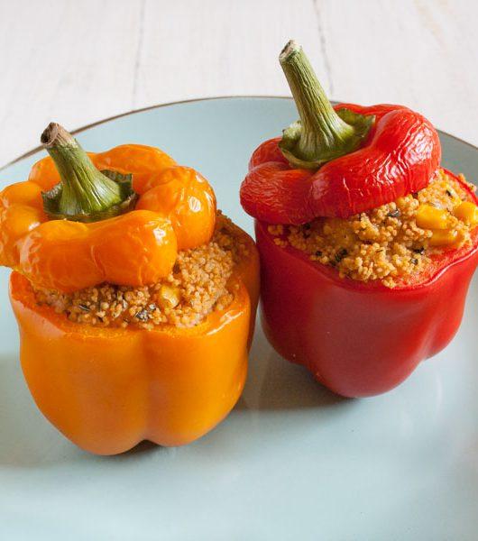 mit Couscous gefüllte Paprikaschoten - The Vegetarian Diaries