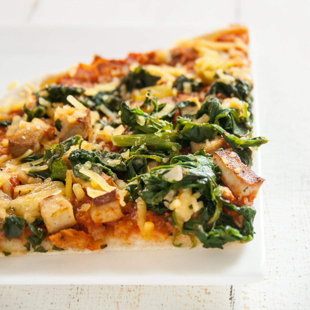 vegane Spinat-Soja-Pizza