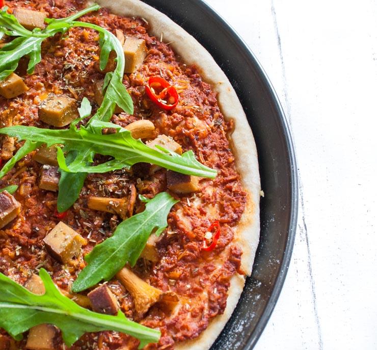 Pfifferling-Pizza mit Raeuchertofu - The Vegetarian Diaries