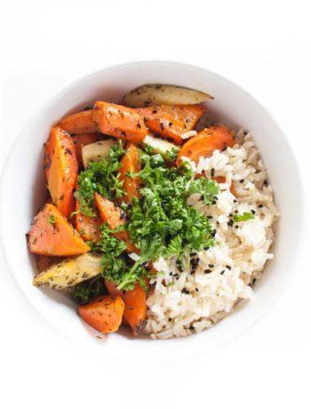 geröstete Möhren mit Thymian und Reis - vegan und glutenfrei