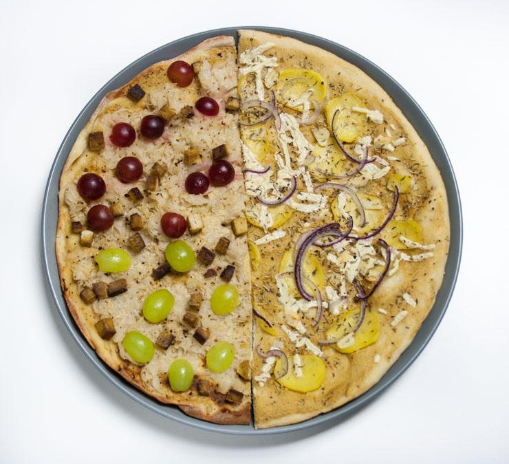 zwei vegane Flammkuchen - The Vegetarian Diaries
