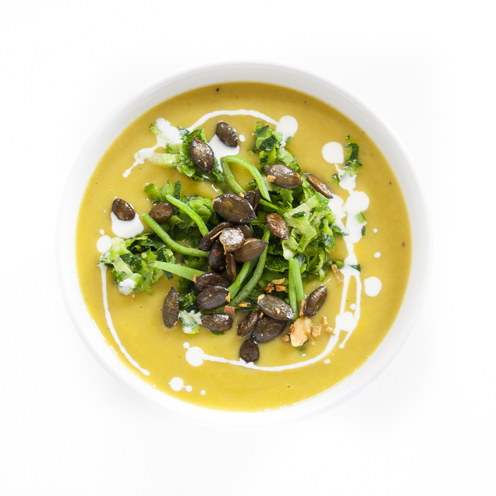 vegane Zucchini-Süßkartoffel-Suppe
