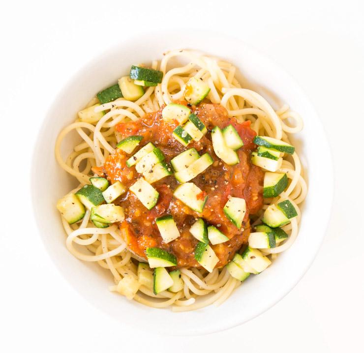 Zucchini-Tomatensugo mit Spaghetti - The Vegetarian Diaries