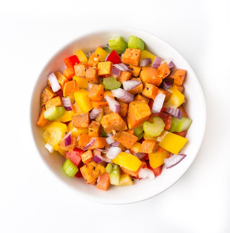Salat mit Süßkartoffelwürfeln - The Vegetarian Diaries