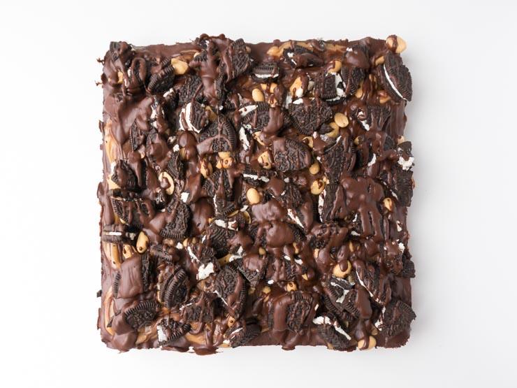 Die Veganen Oreo Brownies Mit Erdnussbutter Schokoladen Topping