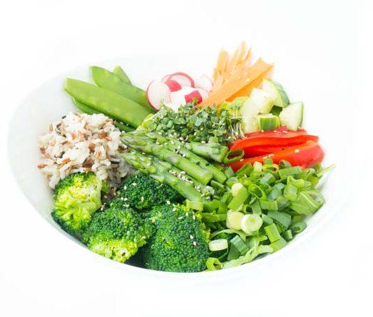 Rezept für eine schnelle Bowl mit Spargel, Zuckerschoten - The Vegetarian Diaries