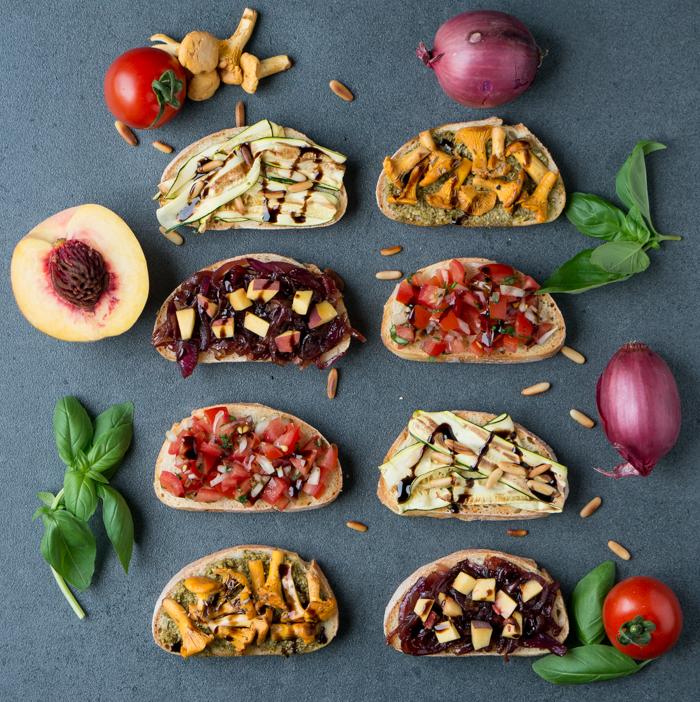 vegane Bruschetta - vier Varianten - The Vegetarian Diaries