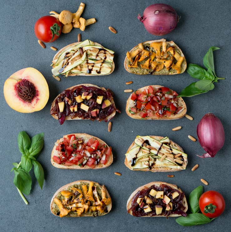 vegane Bruschetta - vier Varianten - The Vegetarian Diaries