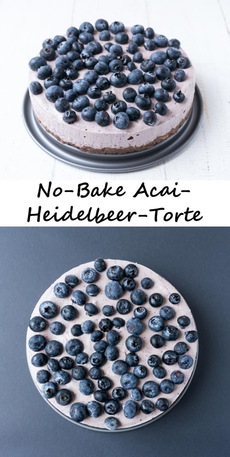 Rezept für eine No-Bake Acai-Heidelbeer-Torte mit Superfoods