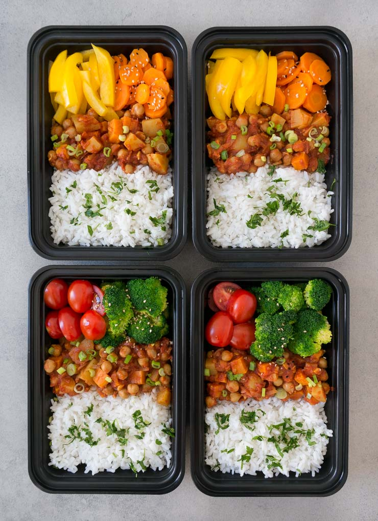 Süßkartoffelcurry mit Reis - Meal Prep - The Vegetarian Diaries
