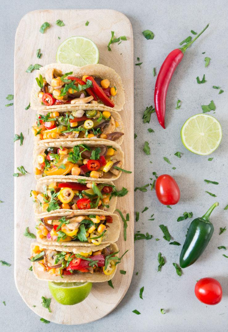 mexikanische Tacos mit Fajita Gemüse - The Vegetarian Diaries