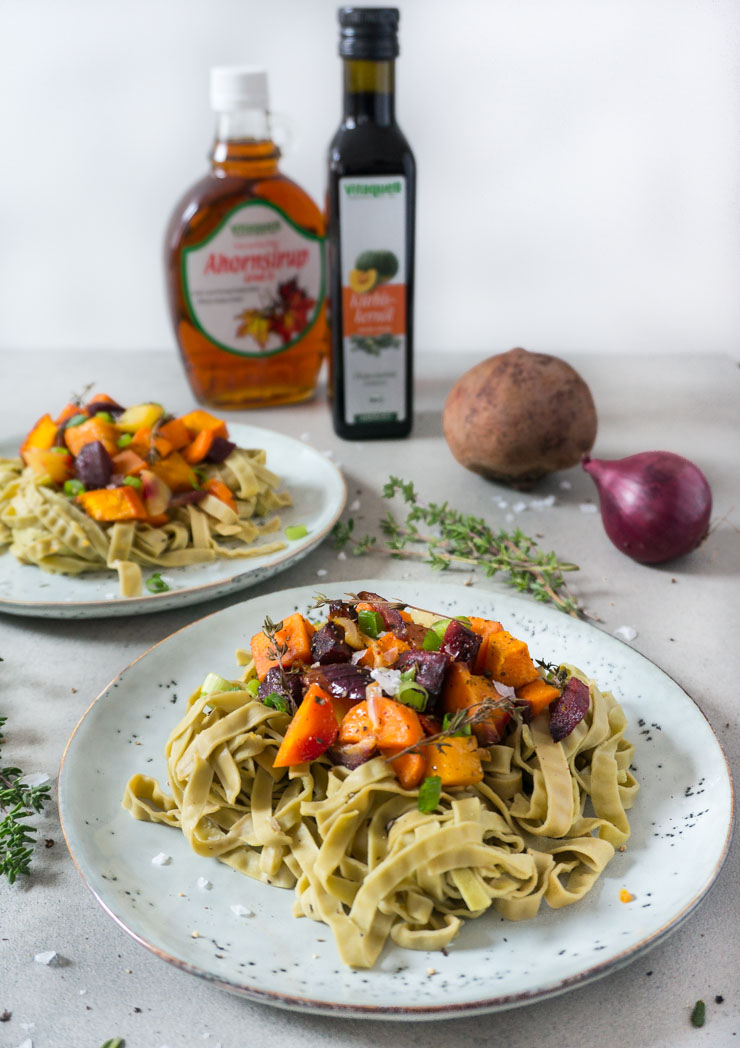 Ofengemüse mit Tagliatelle - Vitaquell - The Vegetarian Diaries