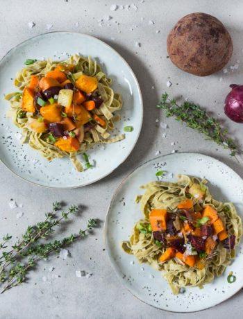 winterliches Ofengemüse mit Soja-Tagliatelle - The Vegetarian Diaries