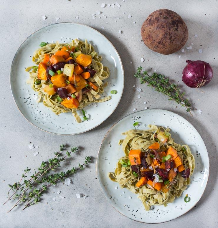 winterliches Ofengemüse mit Tagliatelle - The Vegetarian Diaries