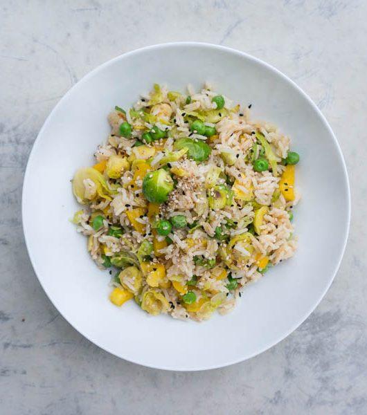 Reis mit gebratenem Rosenkohl - The Vegetarian Diaries