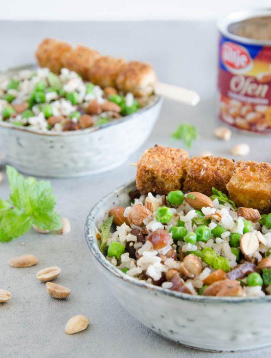Reis und Tofu mit Erdnuss-Panade - The Vegetarian Diaries