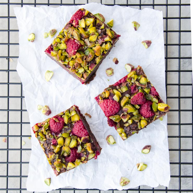 Brownies mit Pistazien und Himbeeren - The Vegetarian Diaries