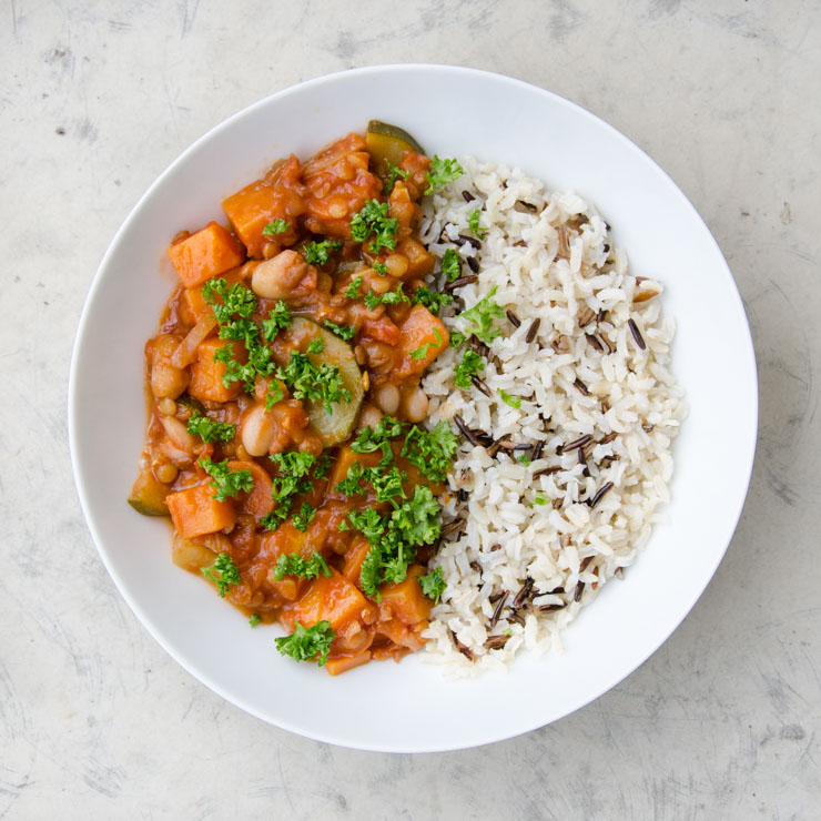 Eintopf mit Süßkartoffel und Bohnen - The Vegetarian Diaries