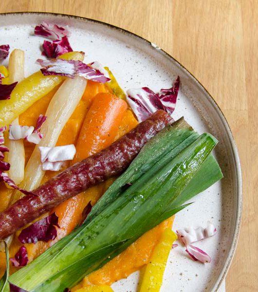 Suesskartoffelstampf mit Ofengemuese - The Vegetarian Diaries