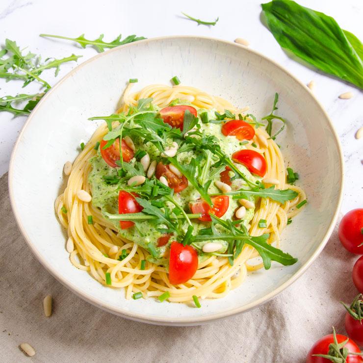 vegane, schnelle Bärlauch-Pasta - The Vegetarian Diaries